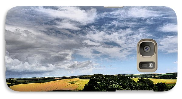Galaxy Case featuring the photograph Feather Clouds Over Fields by Winifred Butler