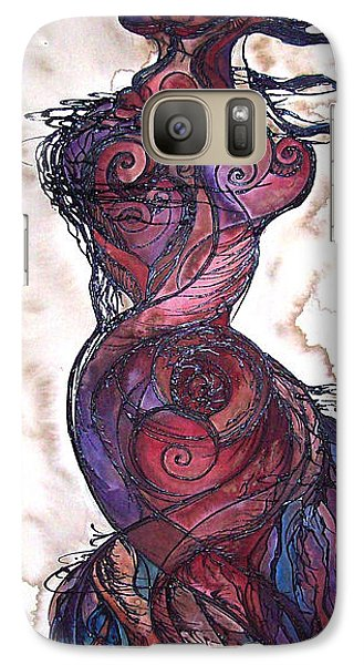 Galaxy Case featuring the painting Feather Flow by Christy  Freeman