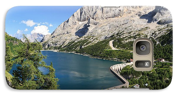 Galaxy Case featuring the photograph Fedaia Pass With Lake by Antonio Scarpi