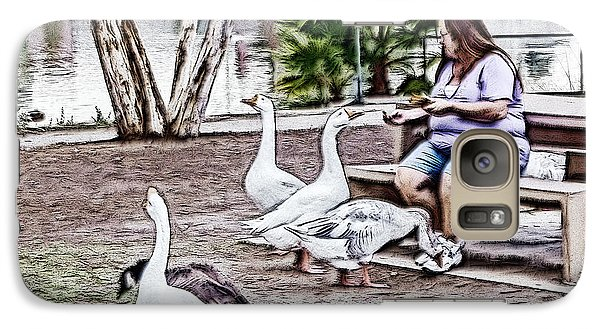 Galaxy Case featuring the digital art Feeding The Geese by Photographic Art by Russel Ray Photos