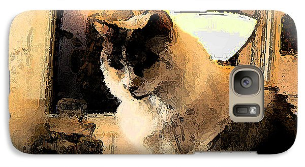 Galaxy Case featuring the photograph Feline Rodin by Lin Haring