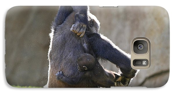 Galaxy Case featuring the photograph Female And Baby Gorilla by Edward R Wisell