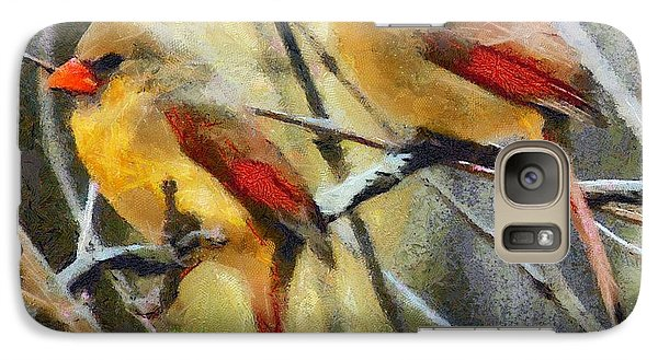 Galaxy Case featuring the digital art Female Cardinals by Carrie OBrien Sibley