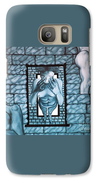 Galaxy Case featuring the painting Female's Gray World by Fei A