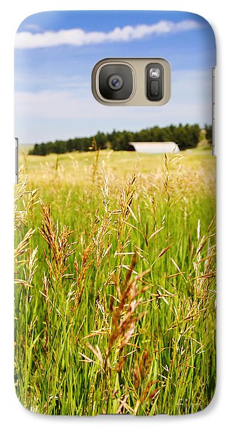 Galaxy Case featuring the photograph Field Of Brome Grass With Barn by Lincoln Rogers