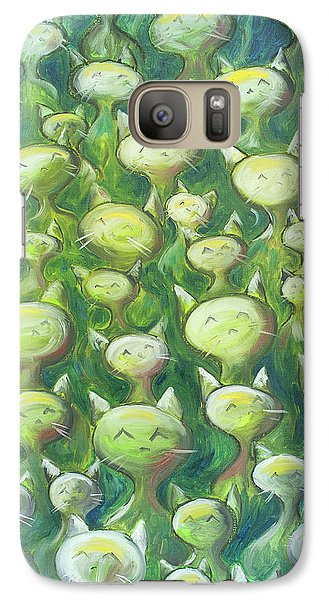 Galaxy Case featuring the painting Field Of Cats by Nik Helbig