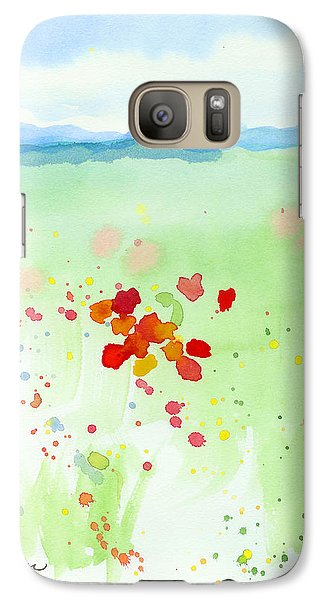 Galaxy Case featuring the painting Field Of Flowers 2 by C Sitton