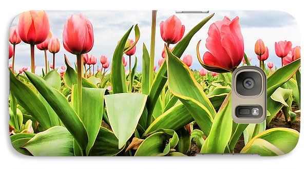 Galaxy Case featuring the photograph Field Of Pink Tulips by Athena Mckinzie