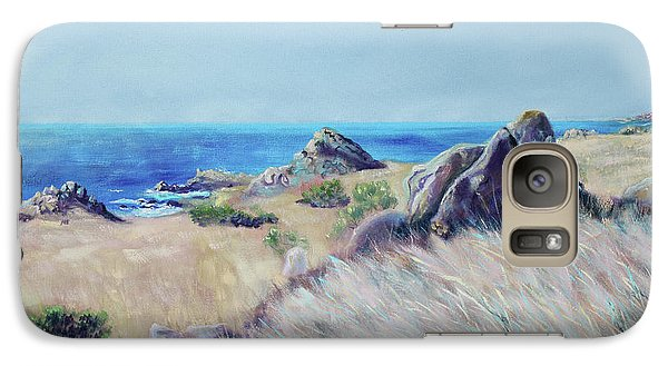 Galaxy Case featuring the painting Fields With Rocks And Sea by Asha Carolyn Young