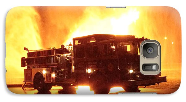 Galaxy Case featuring the photograph Fiery Fire Truck by Jim Lepard
