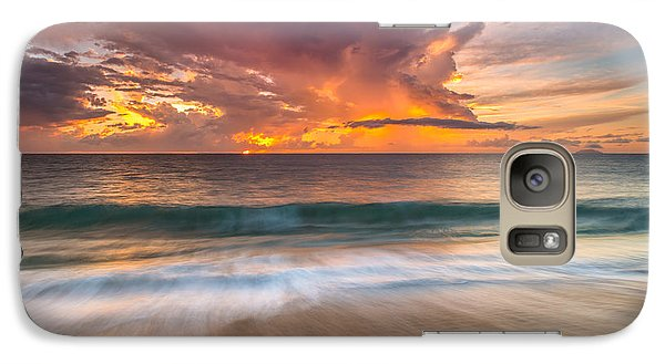 Galaxy Case featuring the photograph Fiery Skies Azure Waters Rendezvous by Photography  By Sai