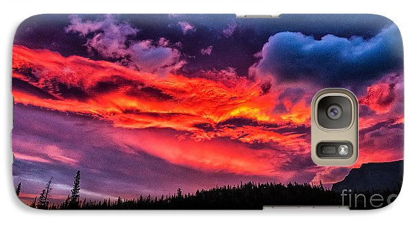 Fiery Sunrise At Glacier National Park Galaxy S7 Case
