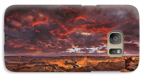 Galaxy Case featuring the photograph Fiery Sunrise Over Dead Horse Point State Park by Sebastien Coursol