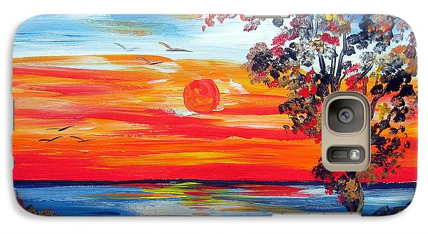 Galaxy Case featuring the painting Fiery Sunset By The Indian Ocean by Roberto Gagliardi