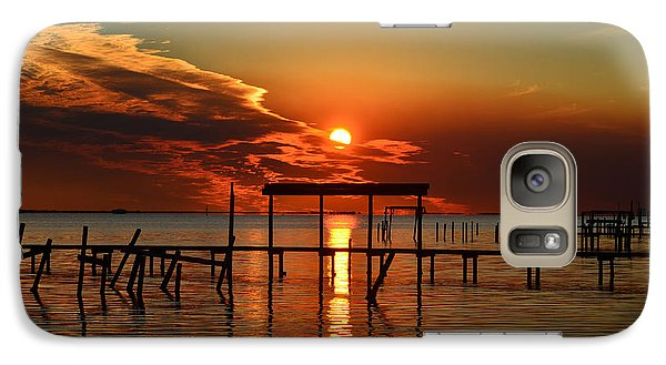 Galaxy Case featuring the photograph Fiery Sunset Colors Over Santa Rosa Sound by Jeff at JSJ Photography