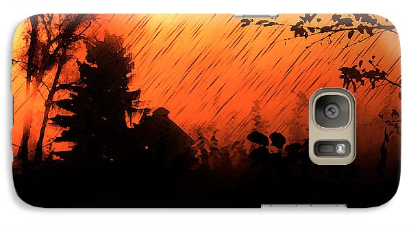 Galaxy Case featuring the painting Fiery Sunset by Persephone Artworks