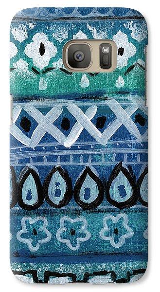 Fiesta In Blue- Colorful Pattern Painting Galaxy Case by Linda Woods