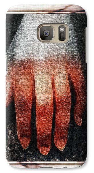 Galaxy Case featuring the photograph Fingers On A Rock Framed by Kellice Swaggerty