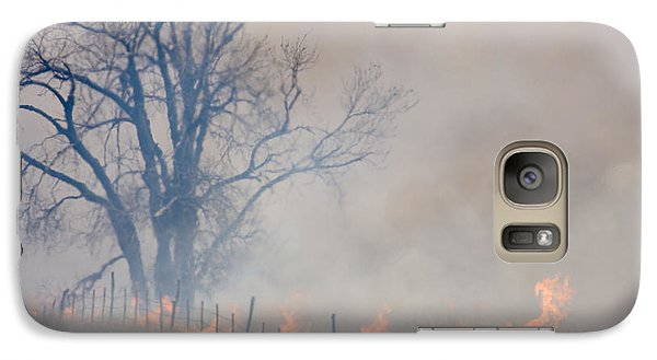 Galaxy Case featuring the photograph Fire And Fence Line by Scott Bean