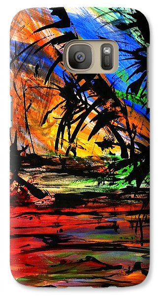 Galaxy Case featuring the painting Fire And Flood by Helen Syron