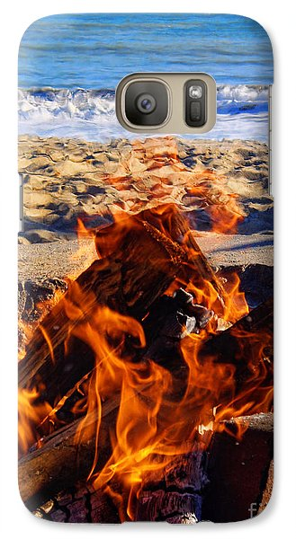 Galaxy Case featuring the photograph Fire At The Beach by Mariola Bitner