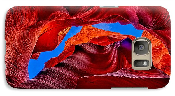 Galaxy Case featuring the photograph Fire Beneath The Sky In Antelope Canyon by Greg Norrell