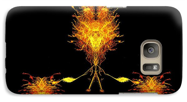 Galaxy Case featuring the digital art Fire Dude Walking His Fire Dogs by R Thomas Brass
