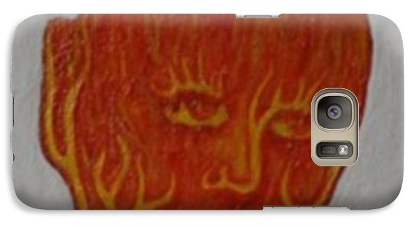Galaxy Case featuring the painting Fire Face by Steve  Hester