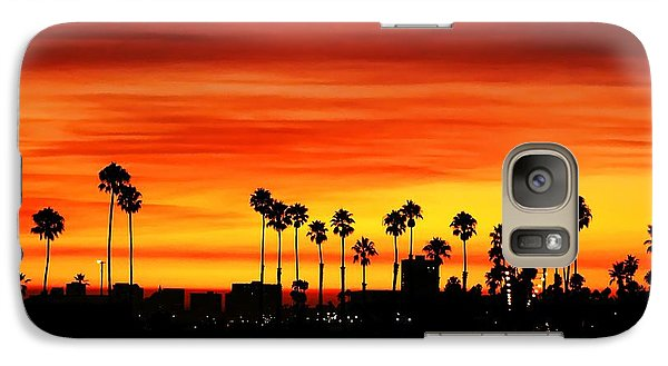 Galaxy Case featuring the photograph Fire Sunset In Long Beach by Mariola Bitner