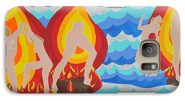 Galaxy Case featuring the painting Fired by Erika Chamberlin