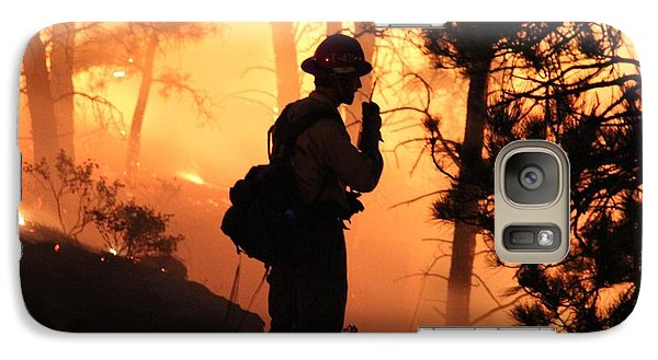 Galaxy Case featuring the photograph Firefighter At Night On The White Draw Fire by Bill Gabbert