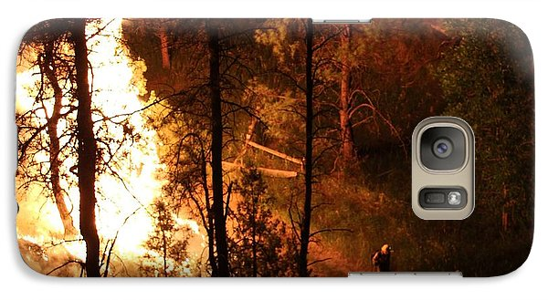 Galaxy Case featuring the photograph Firefighters Burn Out On The White Draw Fire by Bill Gabbert
