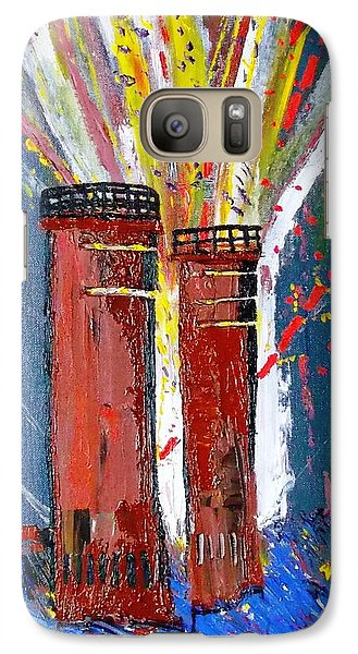 Galaxy Case featuring the painting Firetowers Fireworks by Leslie Byrne