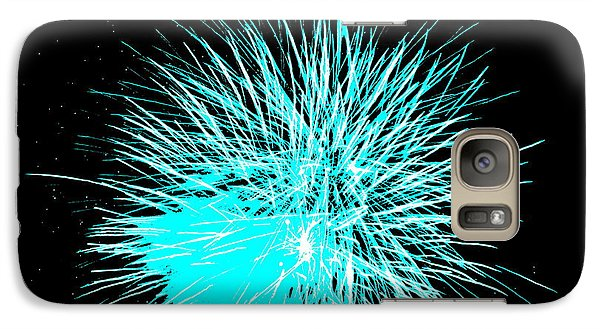 Galaxy Case featuring the photograph Fireworks In Blue by Michael Porchik