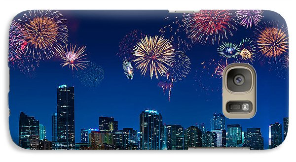 Galaxy Case featuring the photograph Fireworks In Miami by Carsten Reisinger