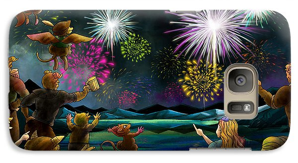 Galaxy Case featuring the painting Fireworks In Oxboar by Reynold Jay