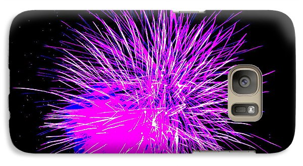 Galaxy Case featuring the photograph Fireworks In Purple by Michael Porchik