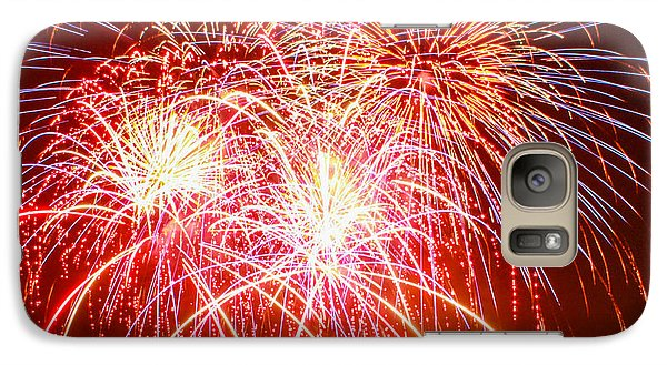 Galaxy Case featuring the photograph Fireworks In Red White And Blue by Robert Hebert