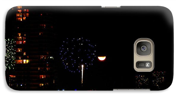 Galaxy Case featuring the photograph Fireworks Over Miami Moon II by J Anthony