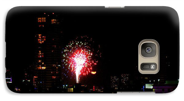 Galaxy Case featuring the photograph Fireworks Over Miami Moon by J Anthony