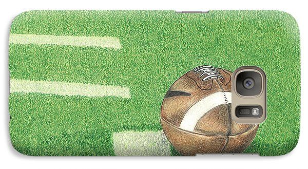 Galaxy Case featuring the drawing First Down by Troy Levesque