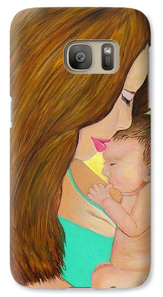 Galaxy Case featuring the painting First Kiss- Mother And Newborn Baby by Shelia Kempf