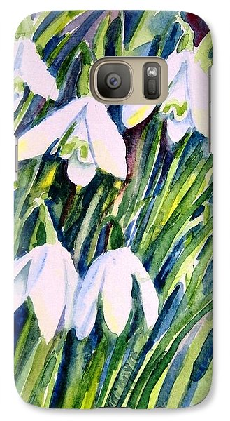 Galaxy Case featuring the painting First Snowdrops Of Winter  by Trudi Doyle
