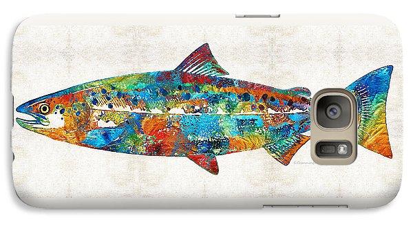 Salmon Galaxy S7 Case - Fish Art Print - Colorful Salmon - By Sharon Cummings by Sharon Cummings