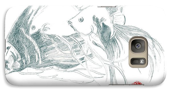 Galaxy Case featuring the drawing Fish by Dianne Levy