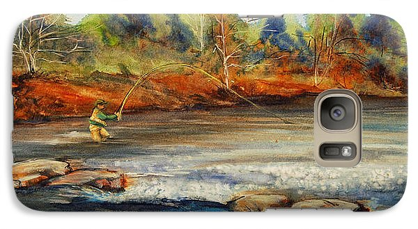 Galaxy Case featuring the painting Fish On 2 by Jani Freimann