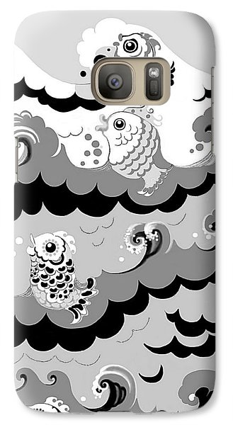 Galaxy Case featuring the digital art Fish Waves by Carol Jacobs