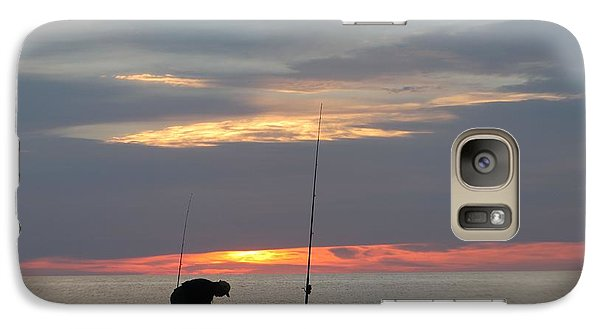 Galaxy Case featuring the photograph Fishing At Sunrise by Robert Banach