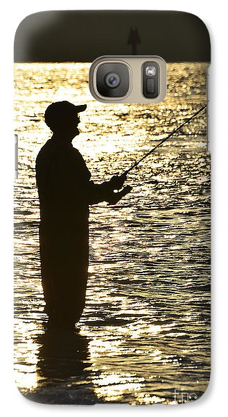Galaxy Case featuring the photograph Fishing In Golden Time by Joan McArthur