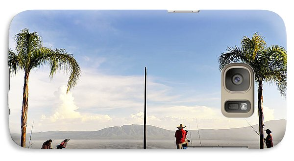 Galaxy Case featuring the photograph Fishing On Lake Chapala by David Perry Lawrence